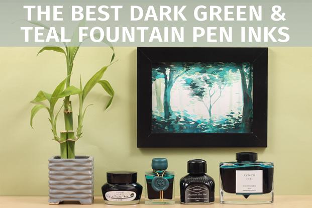 Dark Green and Dark Teal Fountain Pen Ink Comparison