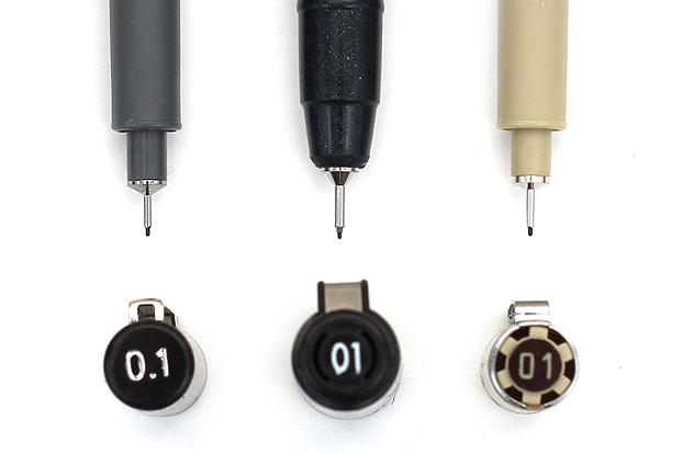 Drawing pen tip sizes