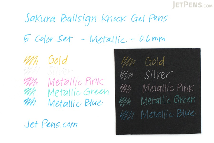 Sakura Ballsign Knock Gel Pen - 0.6 mm - Metallic - 5 Color Set - SAKURA GBR156-5A
