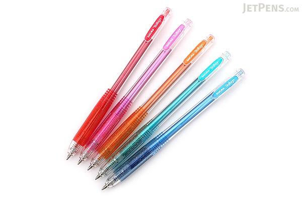 Sakura Ballsign Knock Gel Pen - 0.8 mm - Glitter - 5 Color Set - SAKURA GBR158-5E