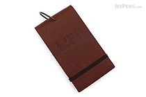 "Life Index Cards on Ring - Leather Cover - 5"" x 3"" - Brown - LIFE P400"