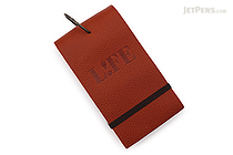 "Life Index Cards on Ring - Leather Cover - 5"" x 3"" - Dark Red (Brown) - LIFE P401"