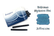 Waterman Ink Cartridges - Mysterious Blue - Long - Pack of 8 - SANFORD S0110910