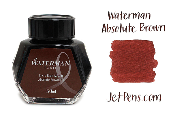 Waterman Fountain Pen Ink - 50 ml Bottle - Absolute Brown - WATERMAN S0110830