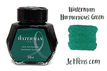 Waterman Fountain Pen Ink - 50 ml Bottle - Harmonious Green - WATERMAN S0110770