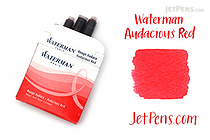 Waterman Ink Cartridges - Audacious Red - Short - Pack of 6 - WATERMAN S0110970