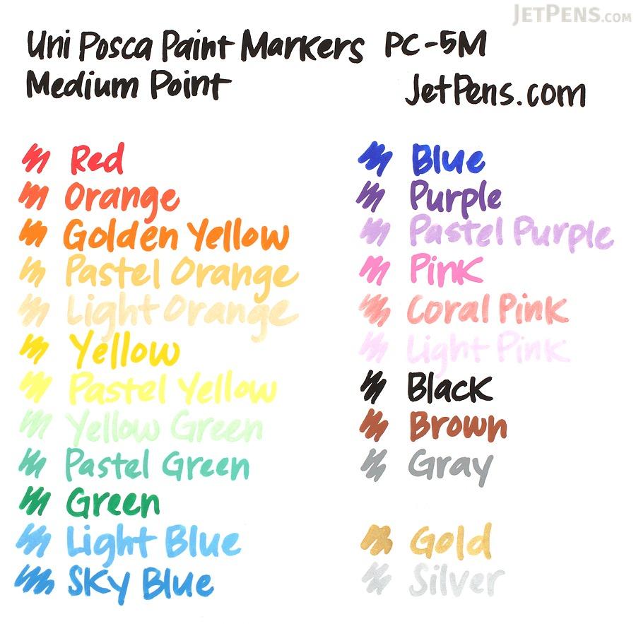 Uni Posca Paint Marker PC-5M - Medium Point - 15 Color Set - UNI PC5M15C