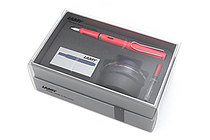 Lamy Safari Fountain Pen Gift Set - Medium Nib - Neon Coral Body - LAMY L41HS