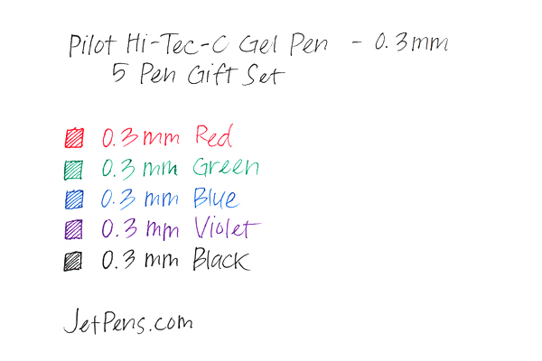 Pilot Hi-Tec-C Gel Pen - 0.3 mm - 5 Pen Gift Set - PILOT LH-100C3-5C