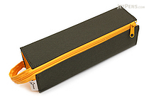Kokuyo C2 Tray Type Pencil Case - Khaki Green + Yellow - KOKUYO F-VBF122-3