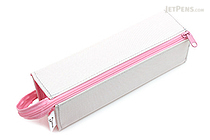 Kokuyo C2 Tray Type Pencil Case - Light Gray + Pink - KOKUYO F-VBF122-2