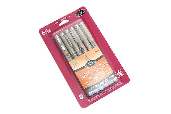 Sakura Pigma Micron Pen - Size 01 - 0.25 mm - 6 Color Set - SAKURA 30063