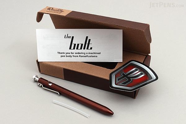 Karas Kustoms Bolt Pilot G2 Pen - Brown - 0.5 mm - Black Ink - KARAS KK-5036-BROWN