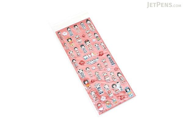 Kurochiku japanese puffy stickers kokeshi doll for Stickers kokeshi