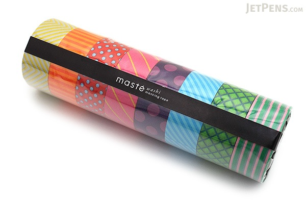 Mark's Maste Washi Tape - Basic Colorfully Colorful - Pattern Mix - Pack of 8 - MARK'S MST-MKT03-B