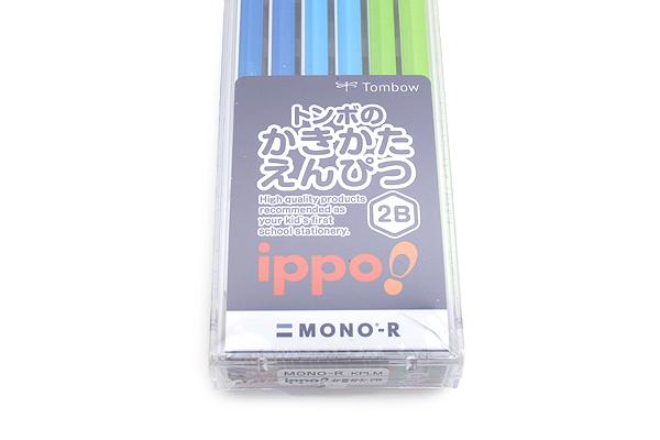 Tombow New Ippo Kids-Friendly Pencil Set - Mono R - 2B - Navy + Blue + Light Green - Pack of 12 - TOMBOW KR-KPLM012B