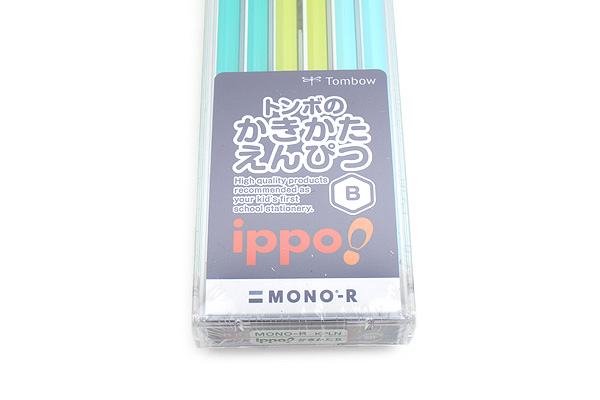 Tombow New Ippo Kids-Friendly Pencil Set - Mono R - B - Green + Light Green + Light Blue - Pack of 12 - TOMBOW KR-KPLN01B