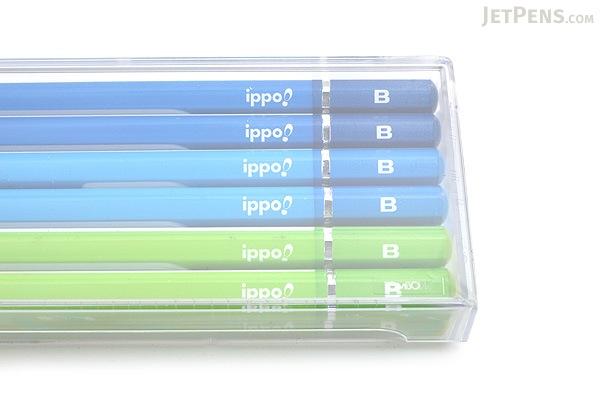 Tombow New Ippo Kids-Friendly Pencil Set - Mono R - B - Navy + Blue + Light Green - Pack of 12 - TOMBOW KR-KPLM01B