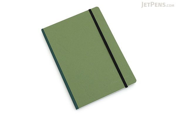 """Clairefontaine Basics Life Unplugged Clothbound Notebook - 6"""" x 8.25"""" - Green - CLAIREFONTAINE 795463"""