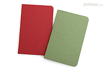 "Clairefontaine Basics Life Unplugged Staplebound Notebooks Duo - 3.5"" x 5.5"" - Red/Green - CLAIREFONTAINE 734169"
