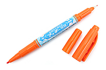 Zebra Mackee Wet-Erase Double-Sided Marker - Extra Fine / Fine - Orange - ZEBRA P-WYTS17-OR