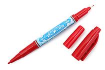 Zebra Mackee Wet-Erase Double-Sided Marker - Extra Fine / Fine - Red - ZEBRA P-WYTS17-R