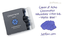 Caran d'Ache Chromatics Ink Cartridge - Idyllic Blue - Pack of 6 - CARAN D'ACHE 8021.140