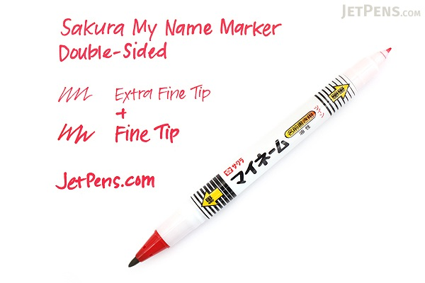 Sakura My Name Marker - Double-Sided - Extra Fine / Fine - Red - SAKURA YKT#19