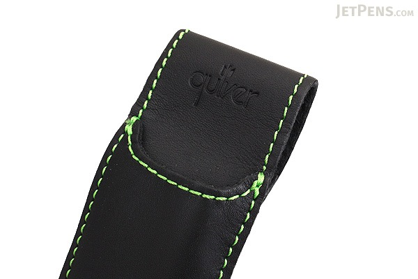 Quiver Double Pen Holder for A5 Large Notebooks - Black with Green Stitching - QUIVER RLH-2-101-BLK-GRN