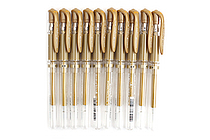 Uni-ball Signo Broad UM-153 Gel Pen - Gold Ink - 10 Pen Bundle - JETPENS UNI UM153.25 BUNDLE