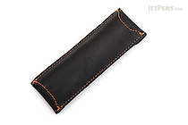 Quiver Double Pen Holder for A6 Pocket Notebooks - Black with Orange Stitching - QUIVER RPH-2-102-BLK-ORG