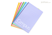 Kokuyo Campus Notebook - Semi B5 - Dotted 7 mm Rule - Pack of 5 Cover Colors - KOKUYO NO-3CATNX5