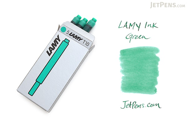 Lamy Fountain Pen Ink Cartridge - Green - Pack of 5 - LAMY LT10GR