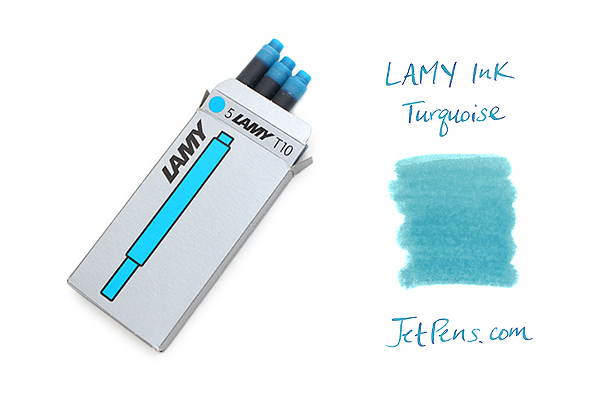Lamy Fountain Pen Ink Cartridge - Turquoise Blue - Pack of 5 - LAMY LT10TURQ