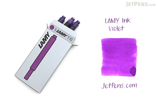 Lamy Fountain Pen Ink Cartridge - Violet - Pack of 5 - LAMY LT10VIO