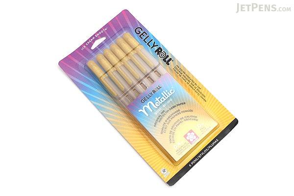 Sakura Gelly Roll Metallic Gel Pen - 1.0 mm - Gold - 6 Pen Set - SAKURA 57383