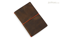 Word Notebooks Leather Notebook Jacket - Olive/Orange - WORD NOTEBOOKS BM-JACKETOLIVEOR