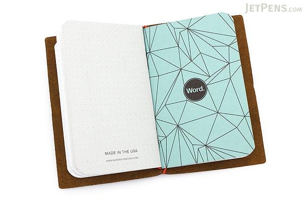 Word Notebooks Leather Notebook Jacket - Olive/Orange - WORD NOTEBOOKS BM-JACKETOLIVEOR