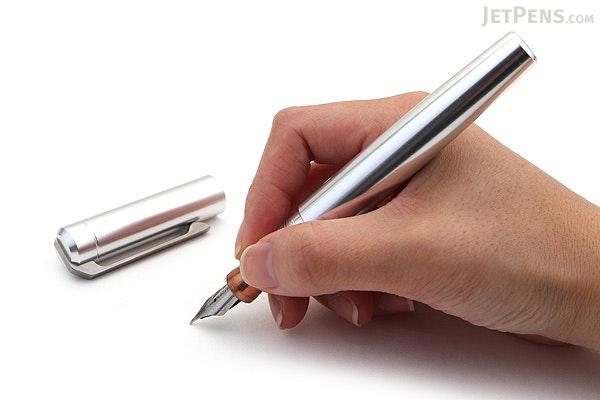 Karas Kustoms Ink Fountain Pen - Aluminum Silver Body - Copper Grip - Fine Nib - KARAS KK-5054-SILVER-CG-F