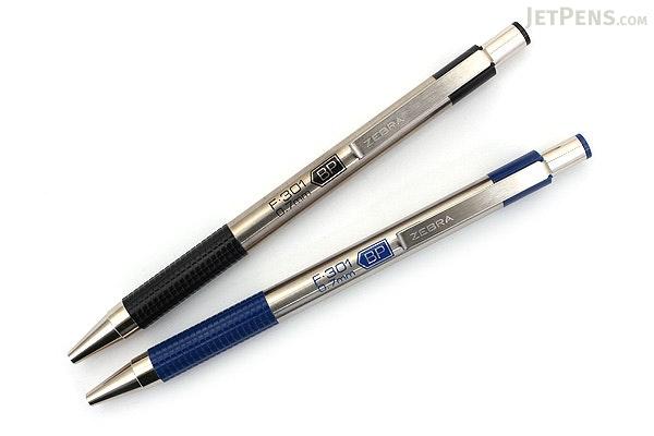Zebra F-301 Stainless Steel Retractable Ballpoint Pen - 0.7 mm - Blue - ZEBRA 27120