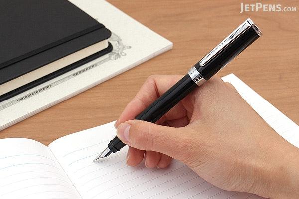 Aurora TU Fountain Pen - Black Resin with Chrome Trim - Medium Nib - AURORA T11-N M