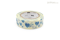 MT Patterns Washi Tape - Heart Stamp Blue - 15 mm x 10 m - MT MT01D332Z
