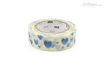 MT Patterns Washi Tape - Heart Stamp Blue - 15 mm x 10 m - MT MT01D332Z
