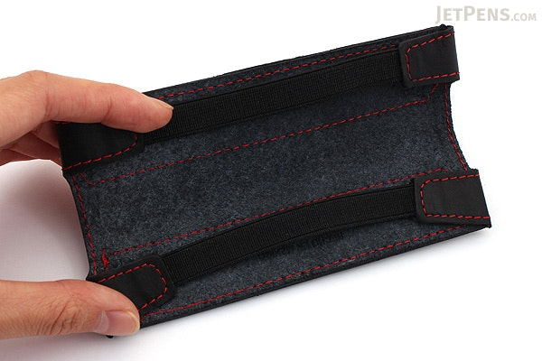 Quiver Single Pen Holder for A6 Pocket Notebooks - Black with Blue Stitching - QUIVER RPH-101-BLK-BLU