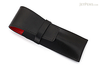Ohto Leather Pen Case - 2 Pens - Black - OHTO LPC-2A-BKRD