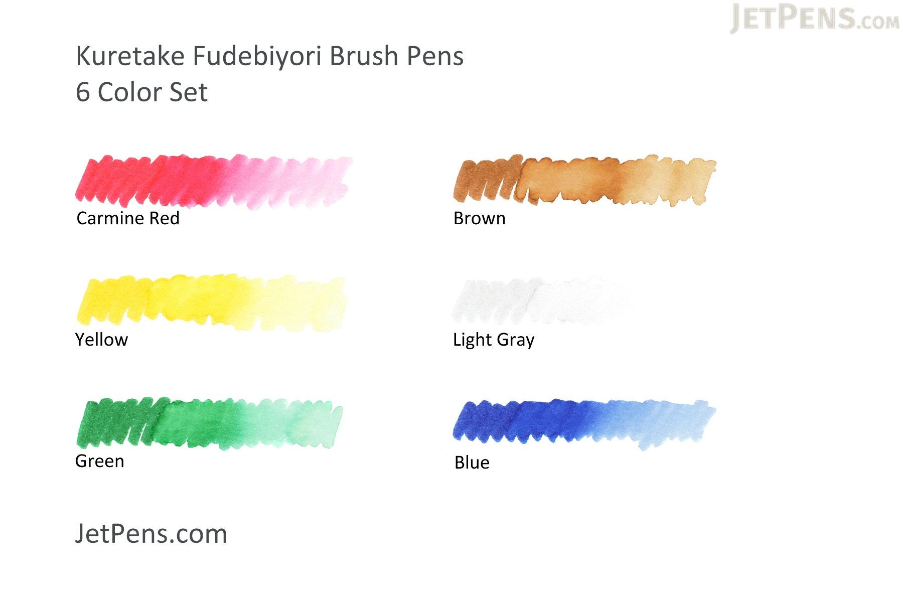 Kuretake Fudebiyori Brush Pen - 6 Color Set - KURETAKE CBK-55-6V