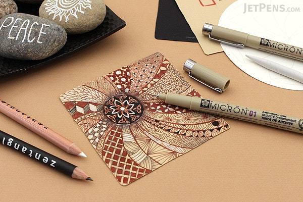 Sakura Zentangle Zendala - 11 Piece Drawing Set - White Round Tiles - SAKURA 50113
