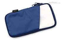 Cubix Round Zip Pen Case - Synthetic Leather - Navy/White - CUBIX 106166-08-100