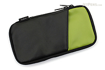 Cubix Round Zip Pen Case - Synthetic Leather - Black/Green - CUBIX 106166-15-100