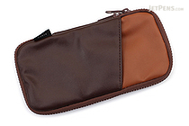 Cubix Round Zip Pen Case - Synthetic Leather - Dark Brown / Brown - CUBIX 106166-35-100